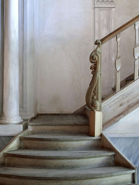 stone wood staircase