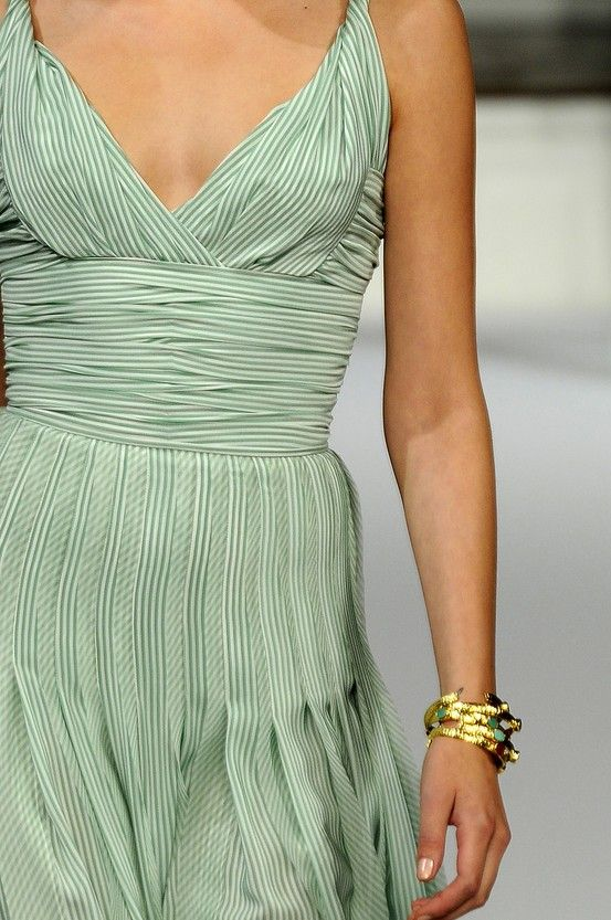 striped green gown
