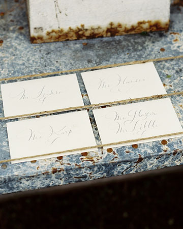 table name cards wedding