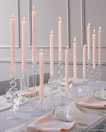 tall pink candles