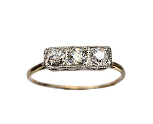 three stone rectangle diamond ring