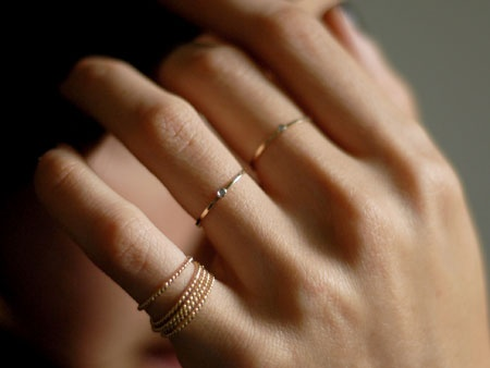 tiny gold finger rings