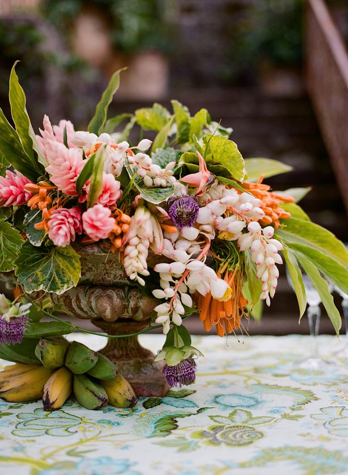 tropical fruit flowers wedding