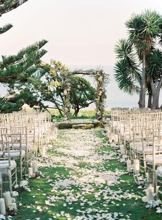 tropical outdoors wedding ceremony