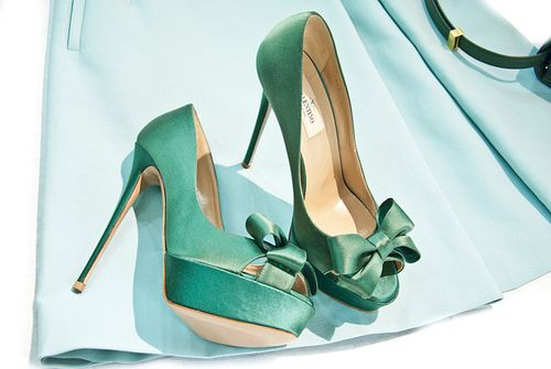 turquoise bow heels
