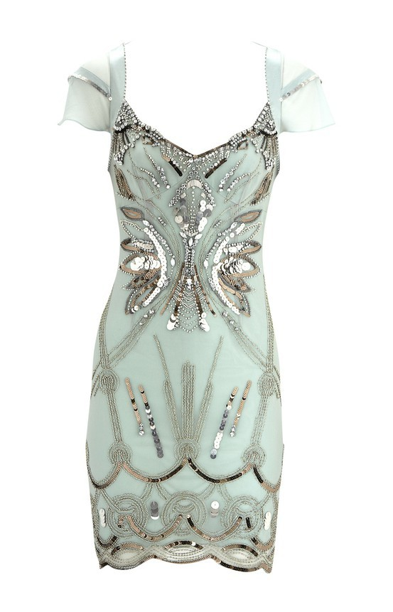 turquoise silver dress