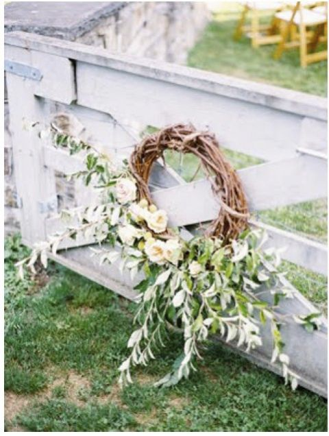 twig wreath wedding ceremony decorations