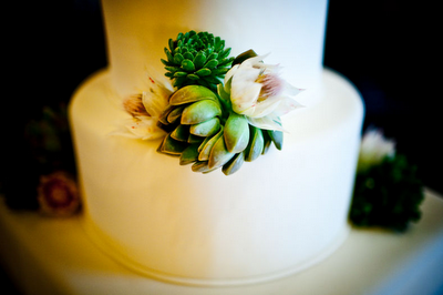 unique green flower wedding cake