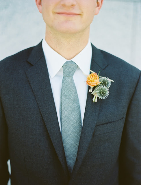 unique orange green boutonniere