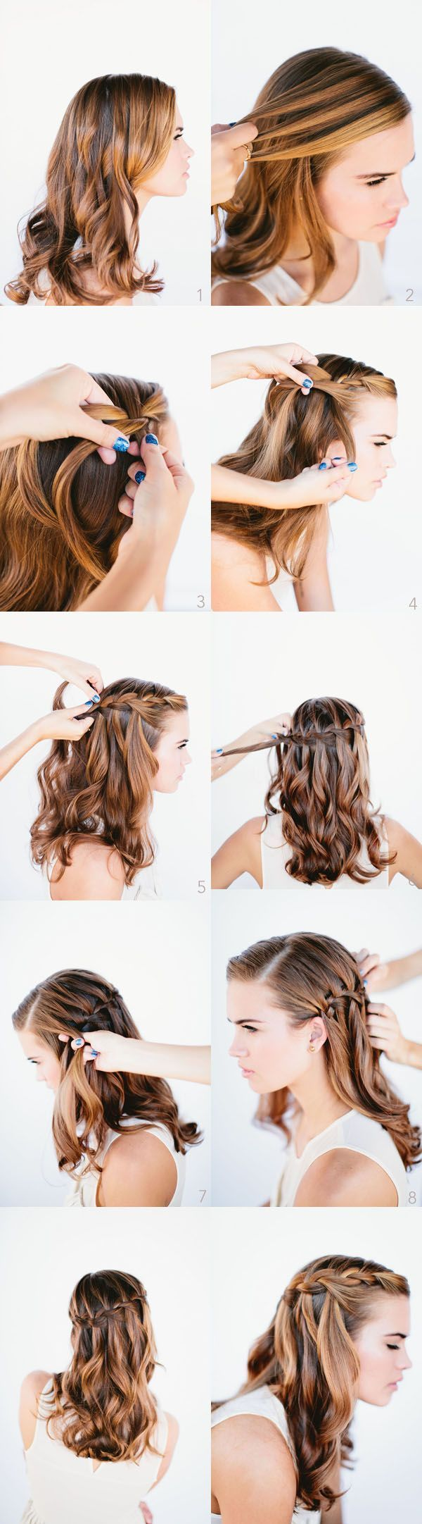 waterfall braid wedding hairstyles for long hair once wed. Black Bedroom Furniture Sets. Home Design Ideas