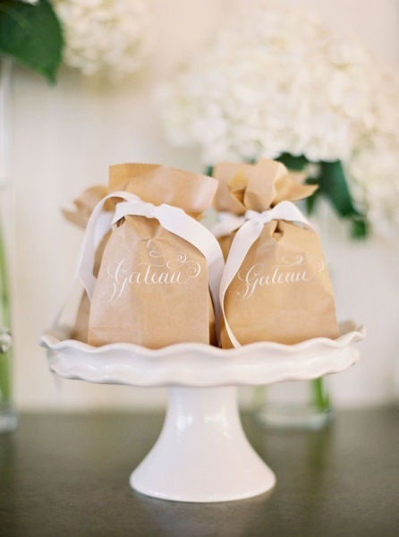 wedding invitations favors brown bag