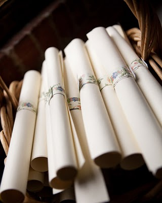 wedding program scrolls once wed