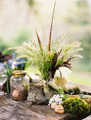 whimsical feather wedding centerpiece