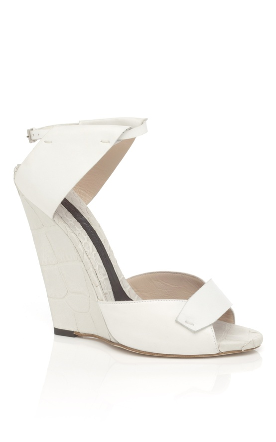 white and putty wedge sandal