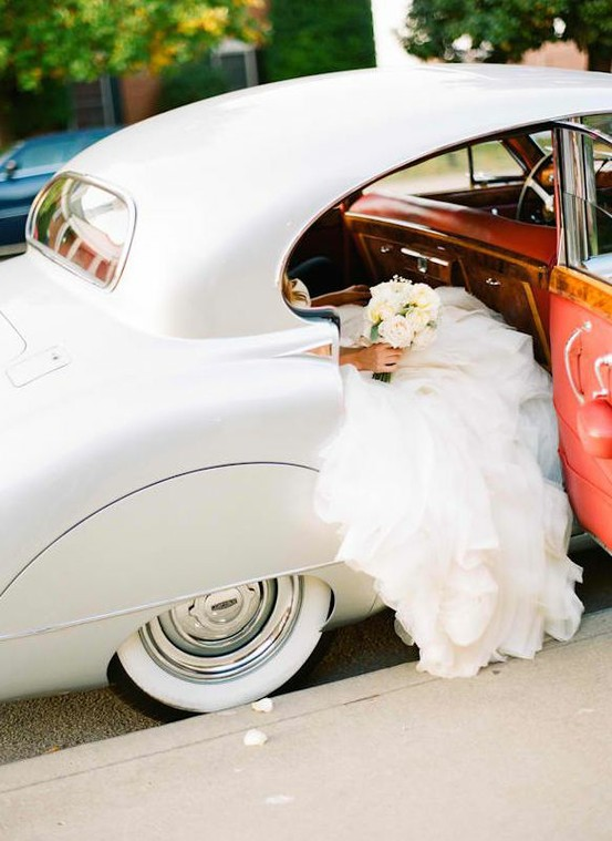 white car wedding day