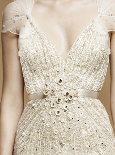 white cream beaded gown