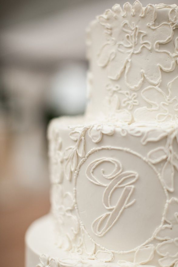 white floral initial wedding cake