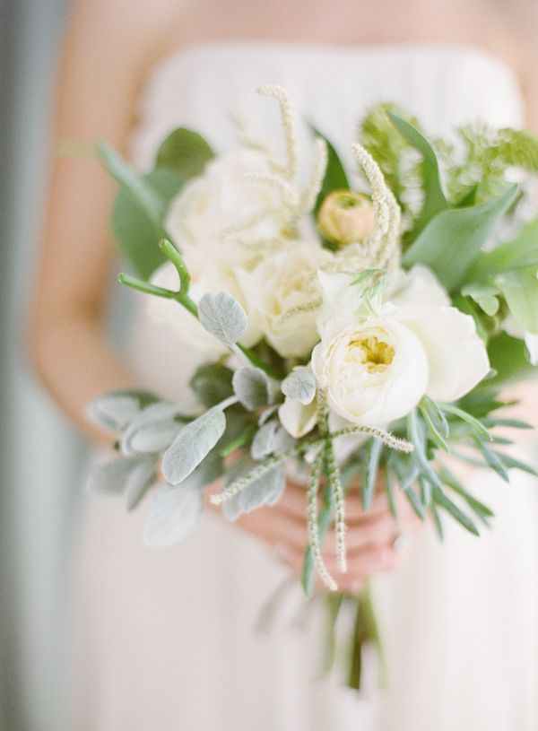 white-garden-rose-succulent-tropical-wedding-bouquet - Once Wed