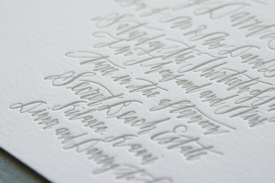 white gray calligraphy invitation