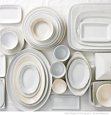 white gray dishes