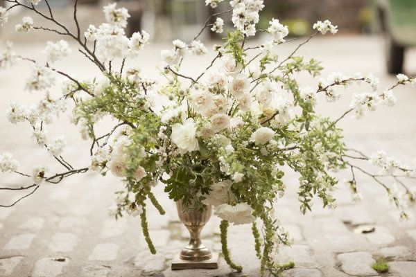 white green branch wedding centerpiece