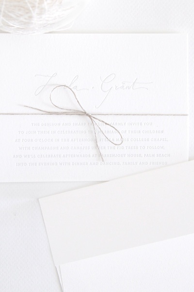 white invitation tie
