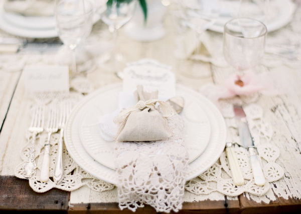 white lace place setting
