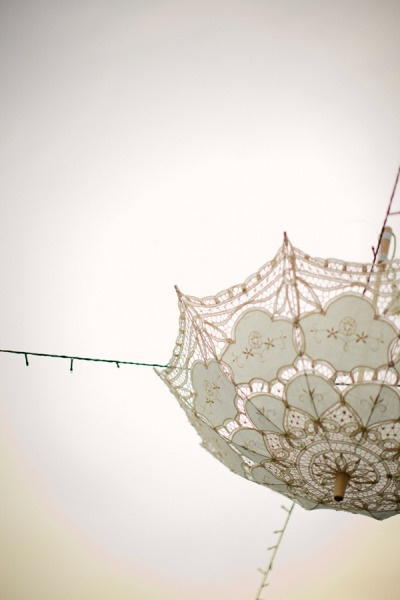white lace umbrella decorations