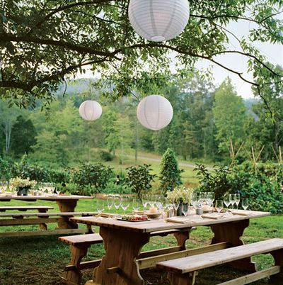 white lantern outdoor wedding