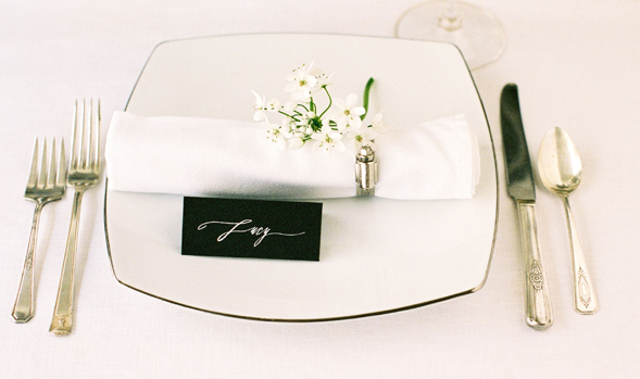 white place card black name card