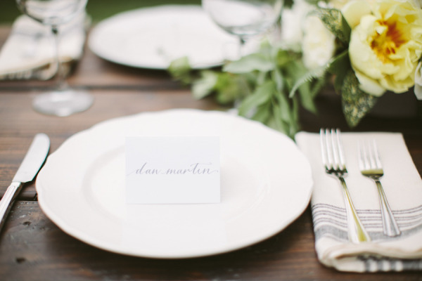 white plate name cards