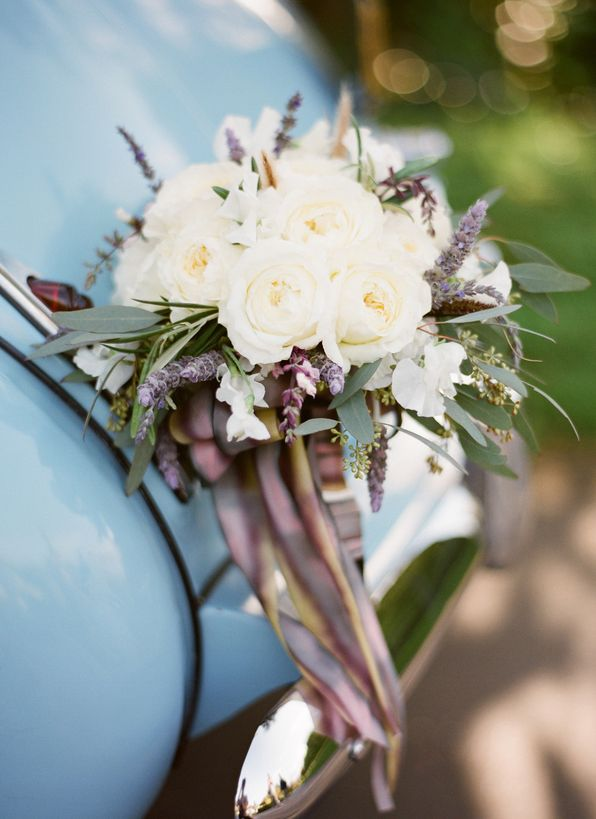 White Purple Wedding Bouquet