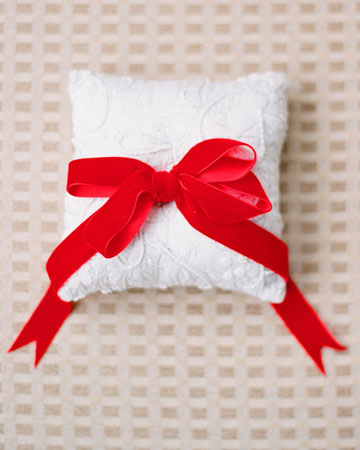 white red ring bearer pillow