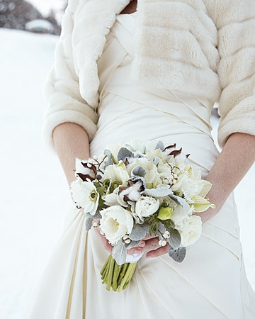 Winter White Bouquet Fur Shawl