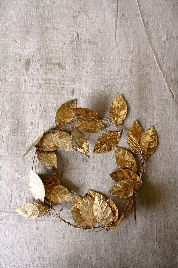 wire garland gold leaves