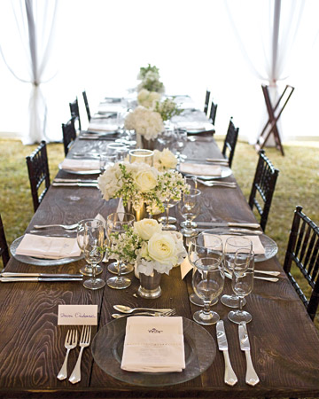 wooden table white tent