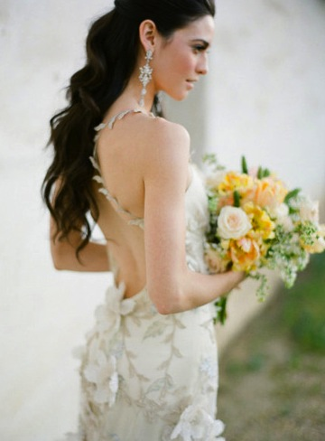 Yellow Bridal Bouquet Backless Wedding Gown