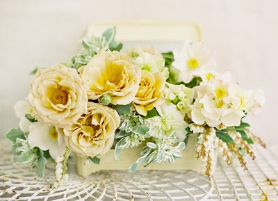 yellow cottage wedding centerpiece
