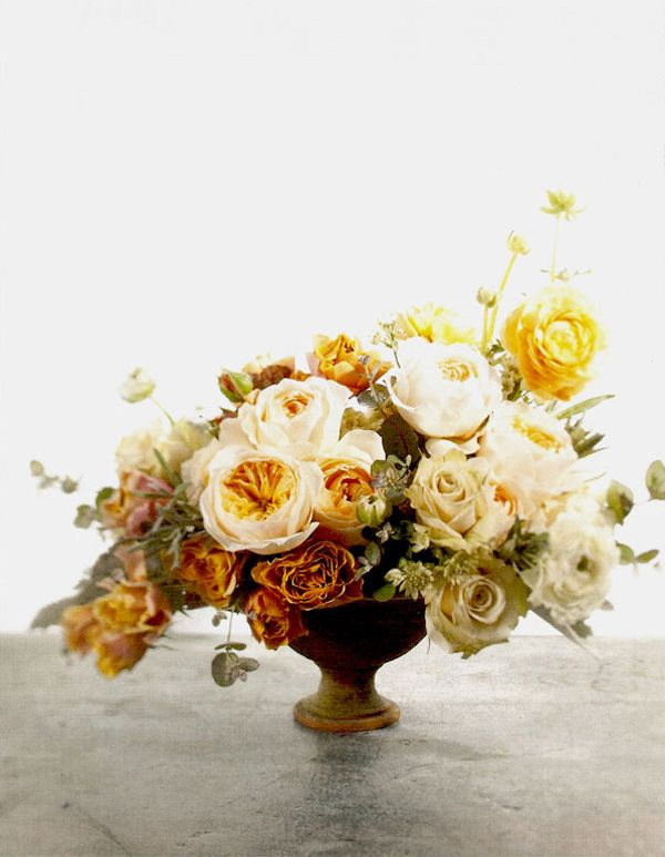 yellow orange flower wedding centerpiece