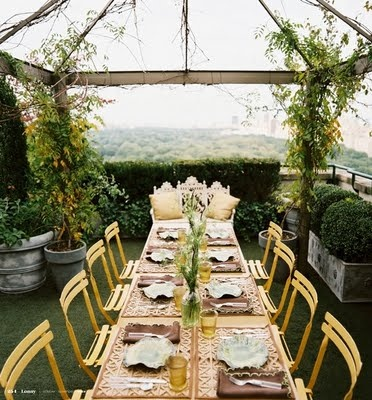 yellow table garland decor