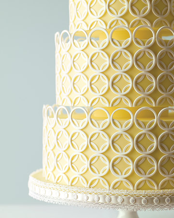 yellow white circle wedding cake