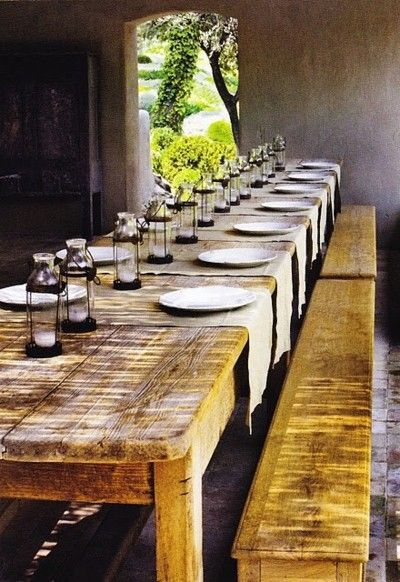 yellow wood banquet table