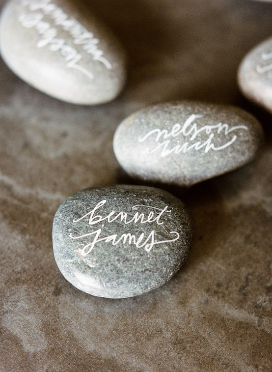 Calligraphy river rock diy place card holders