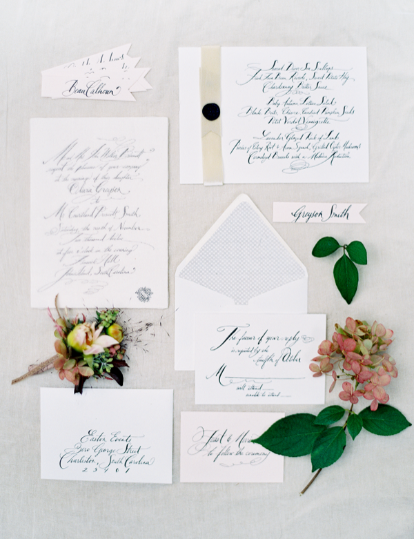 Cheese Cloth Calligraphy Wedding Invitations Once Wed