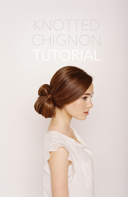 knotted chignon wedding hair tutorial once wed. Black Bedroom Furniture Sets. Home Design Ideas