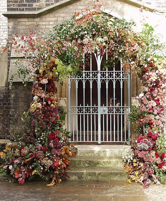 red-floral-arch