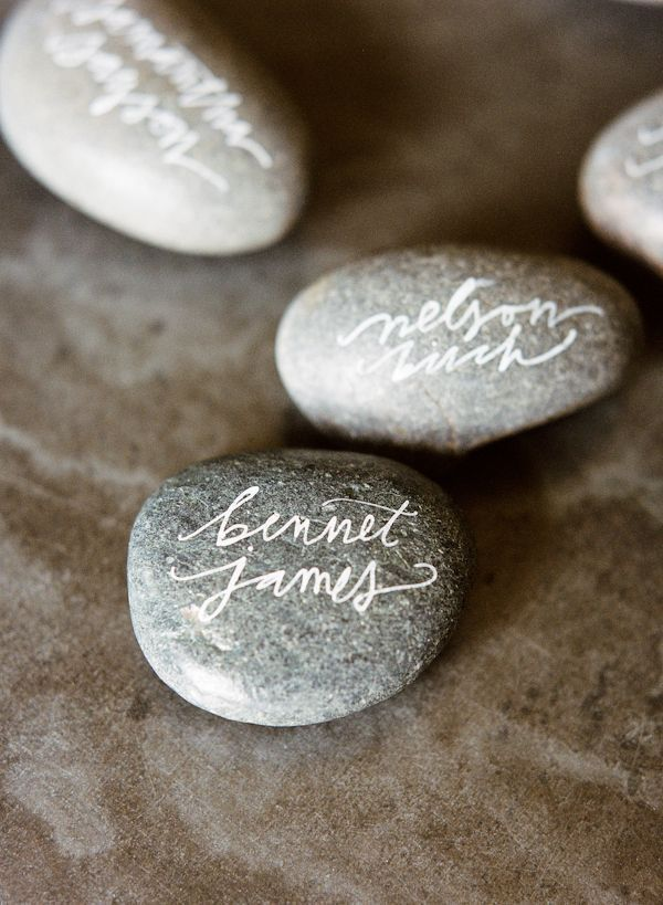 Calligraphy Rock DIY Place Card Holders