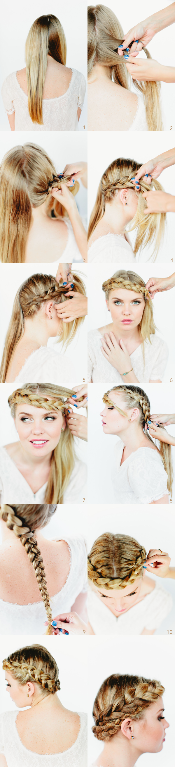 Crown braid wedding hairstyles for long hair