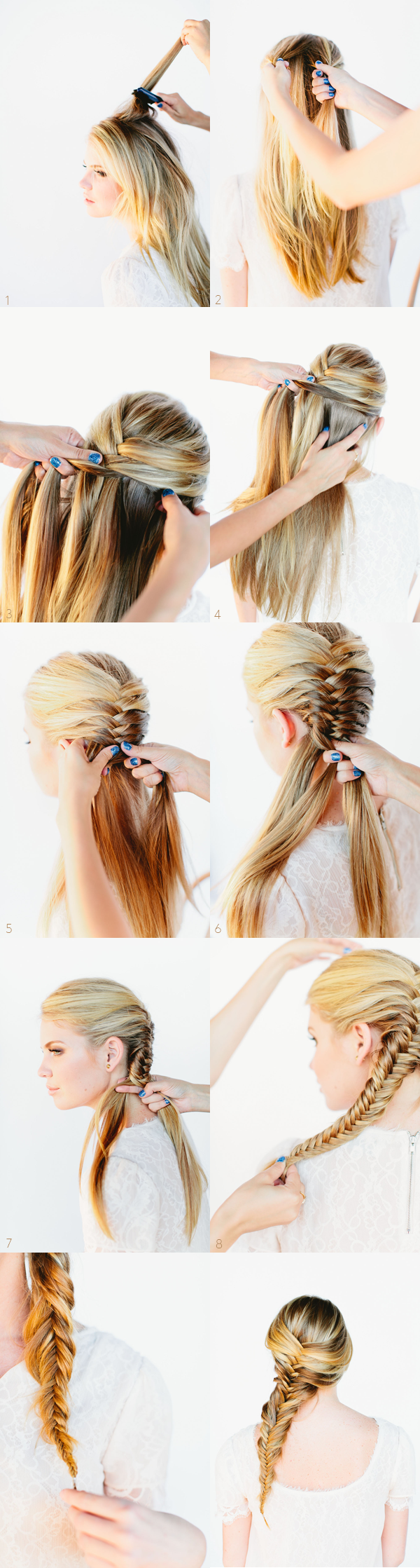 Reverse fishtail braid tutorial two ways.