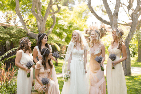 pink-vintage-wedding-bridesmaid-dresses
